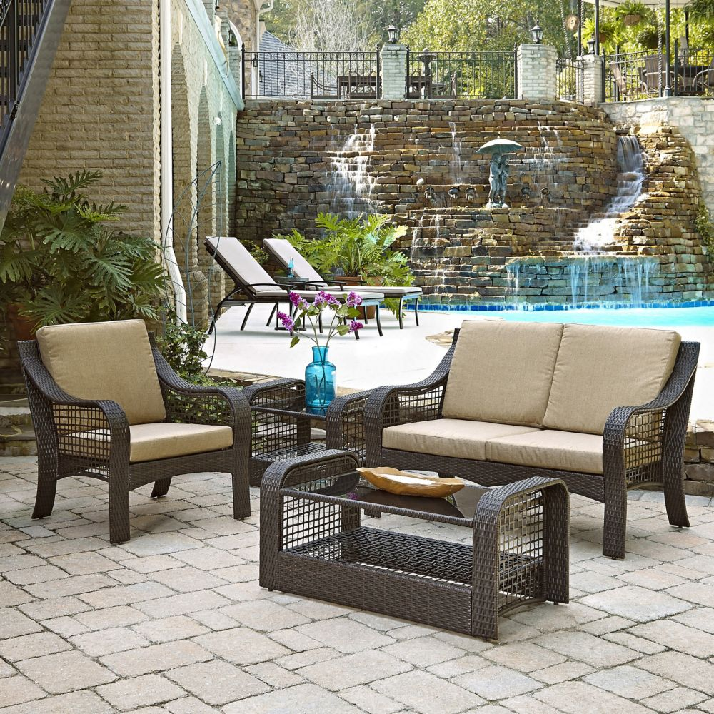 Lanai Breeze Collection Loveseat, Accent Chair, End Table and Coffee Table