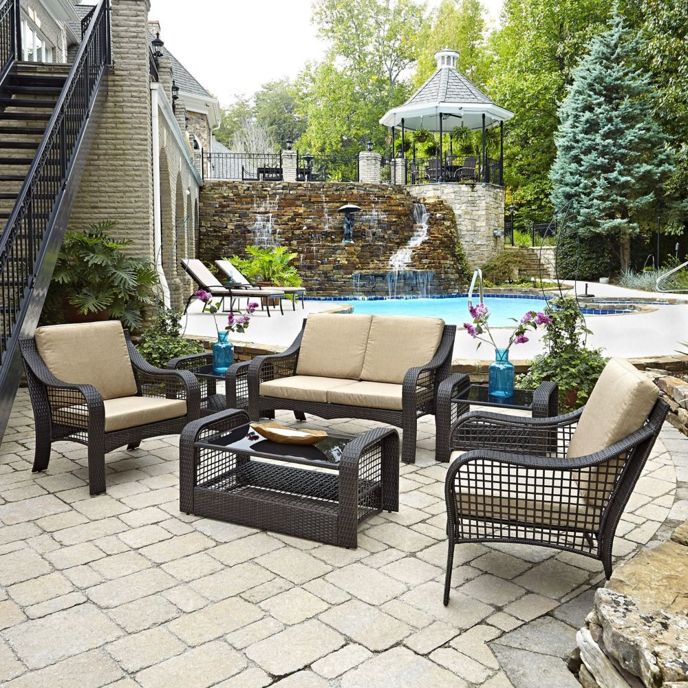 Lanai Breeze Collection Loveseat, Two Chairs, Two End Tables and Coffee Table