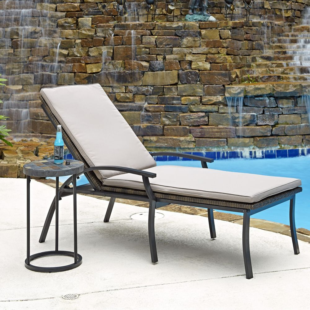 Two Laguna Collection Patio Chaise Lounge Chairs and Accent Table