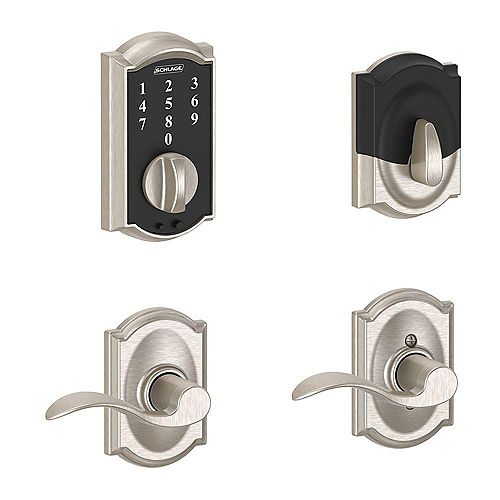Schlage Touchscreen Combo Camelot/Accent Lever Satin Nickel