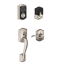 Schlage Touchscreen Handle Set Camelot/Accent Lever Satin Nickel