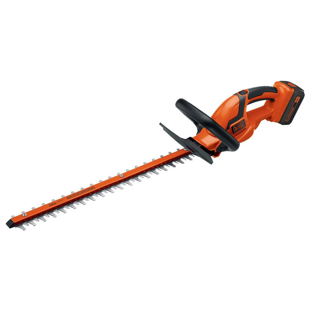 Black & Decker 24-inch 40V Electric Lithium-Ion Electric Cordless Hedge Trimmer with Battery & Charger
