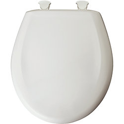 Bemis Round Plastic Toilet Seat with Whisper Close and Easy Clean & Change Hinge in Euro White