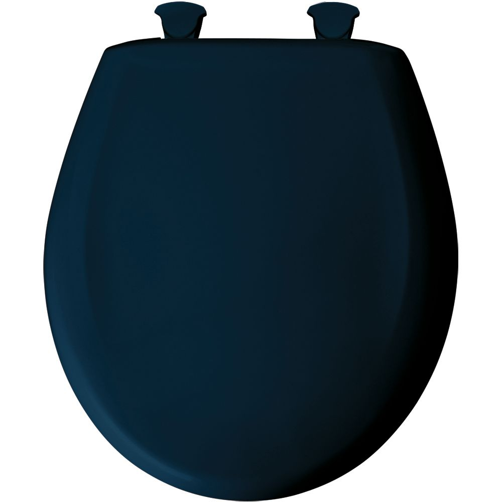 Bemis Round Plastic Toilet Seat with Whisper Close and Easy Clean & Change Hinge in Navy