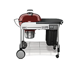 Performer Deluxe 22-inch Charcoal BBQ in Crimson with Steel Cart
