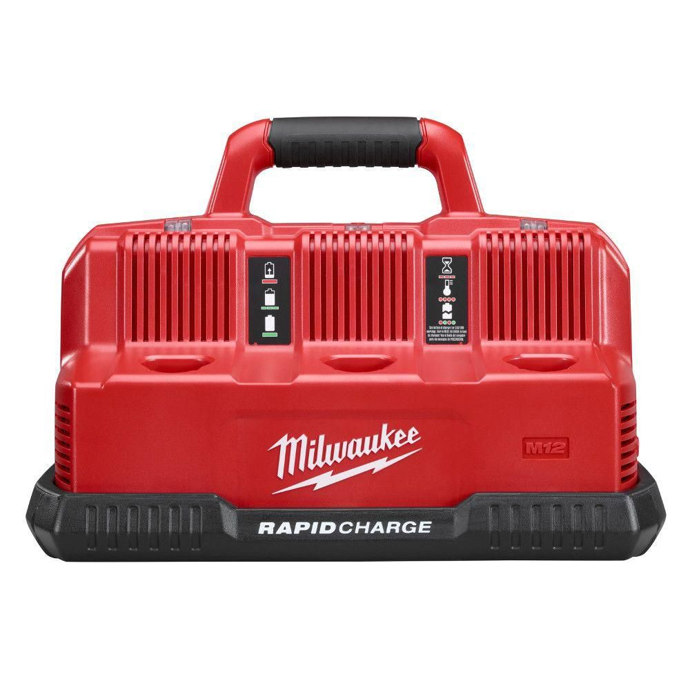 Milwaukee Tool M12 and M18 12V/18V Lithium-Ion Multi-Voltage 6-Port Sequential Rapid Battery Charger (3 M12 and 3 M18 Ports)