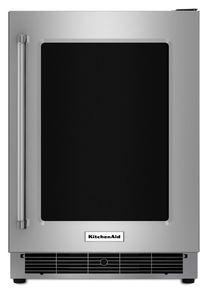 Kitchenaid 5 1 cu ft undercounter refrigerator with - Glass door fridge for home ...