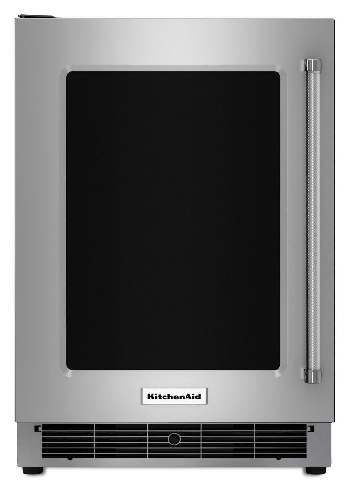Réfrigérateur de 24 po sous-le-comptoir en acier inoxydable avec tablettes en verre à bordure ava...