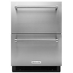 24-inch W 4.7 cu. ft. Double Drawer Refrigerator in Stainless Steel, Counter Depth