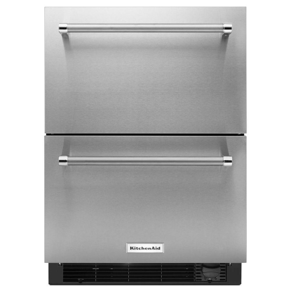KitchenAid 24-Inch Refrigerator with Bottom Freezer Drawer in Panel-Ready Stainless Steel