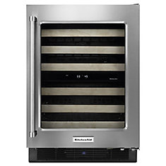Stainless Steel Wine Cellar with Wood-Front Racks - KUWR204ESB