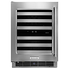 24 In. Stainless Steel Wine Cellar with Metal-Front Racks - KUWL304ESS