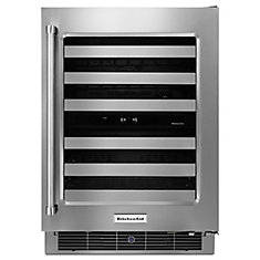 24 In. Stainless Steel Wine Cellar with Metal-Front Racks - KUWR304ESS