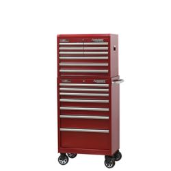 HUSKY 27-inch 16-Drawer Tool Storage Chest and Cabinet Combo in Metallic Red