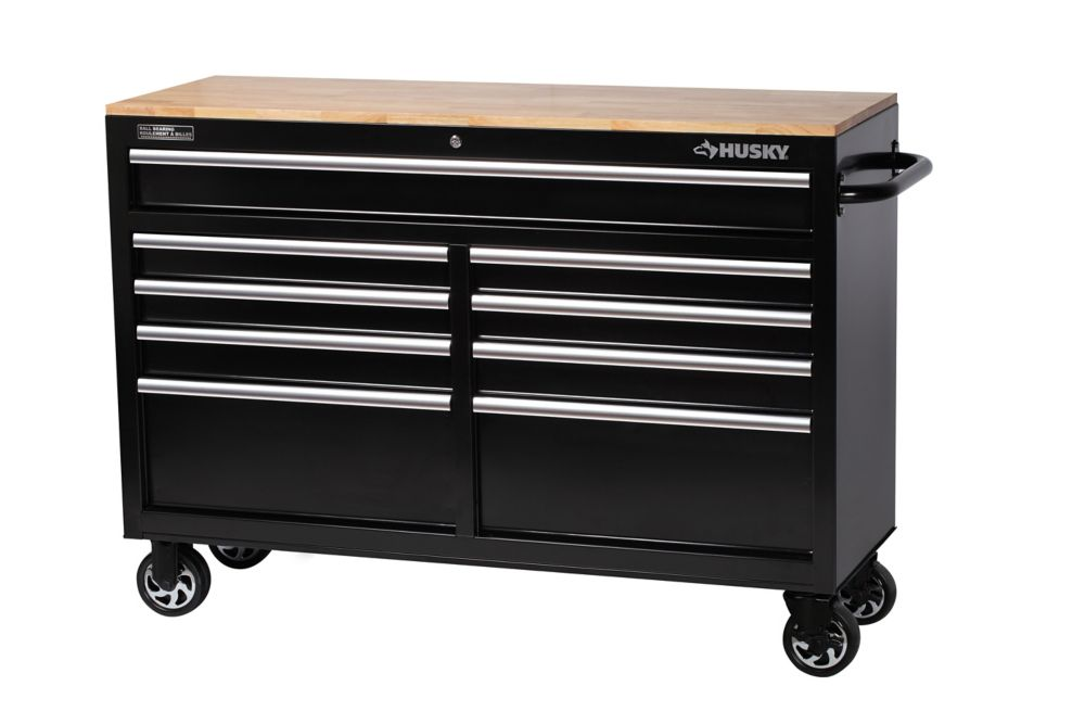 "52"" 9-Drawer Mobile Workbench with Solid Wood Top"