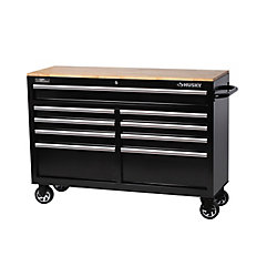 HUSKY 52 inch 9-Drawer Mobile Workbench with Solid Wood Top