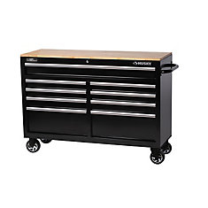 52 inch 9-Drawer Mobile Workbench with Solid Wood Top