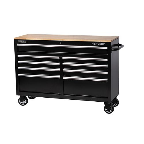 HUSKY 52-inch 9-Drawer Mobile Workbench with Solid Wood Top in Black