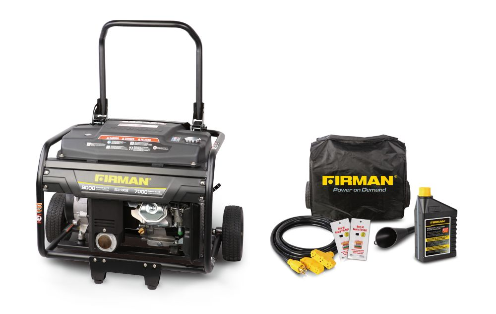 Firman 9000-Watt 15-HP Gasoline Powered Electric Start Portable Generator and (Combo Kit)