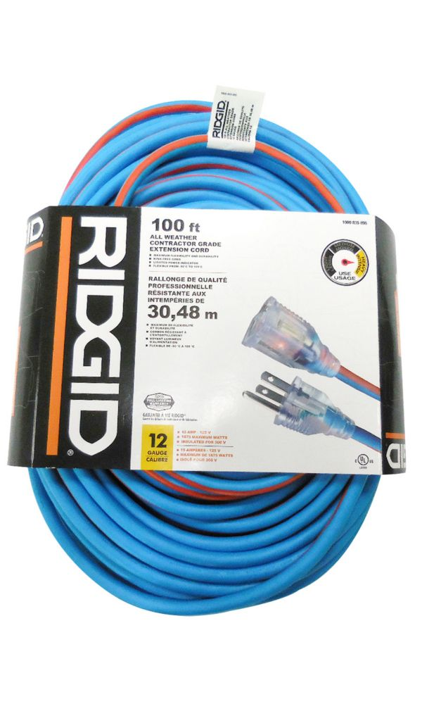 100 Feet All Weather Contractor Grade Extension Cord 12 Gauge
