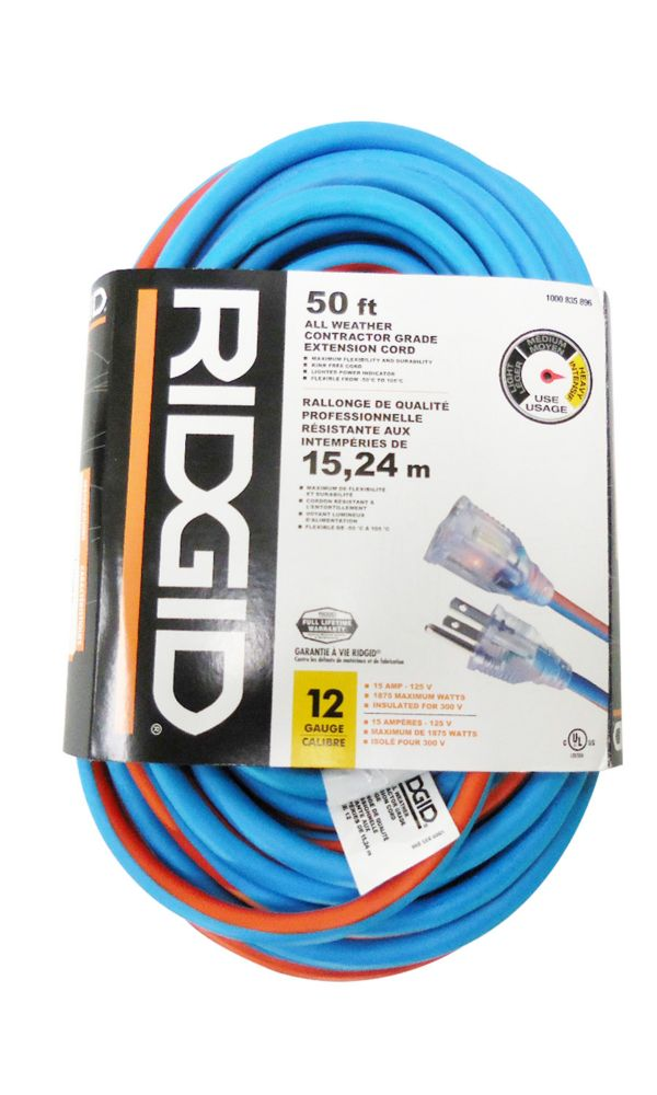 50 Feet All Weather Contractor Grade Extension Cord 12 Gauge