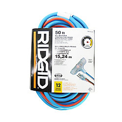 RIDGID 50 Feet All Weather Contractor Grade Multi-Outlet Cord