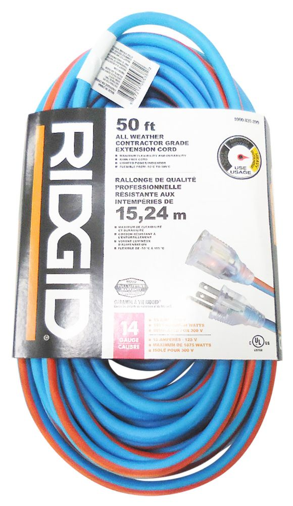 RIDGID 50 Feet All Weather Contractor Grade Extension Cord 14 Gauge ...