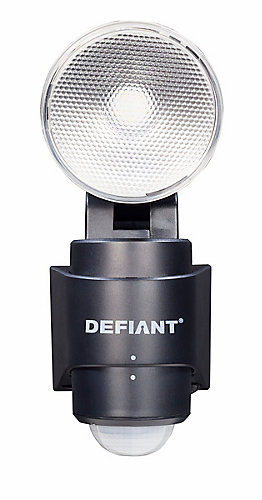 Defiant 180 degree 1 head black led motion sensing battery power 180 degree 1 head black led motion sensing battery power outdoor flood light aloadofball Gallery