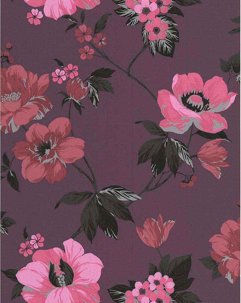 Eden Papier Peint Rose et Violet - échantillon