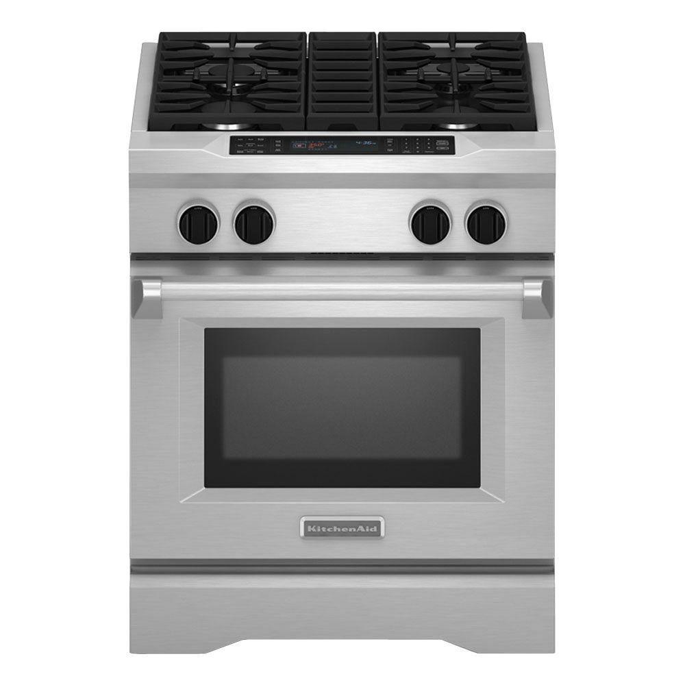 Cuisinière bi-combustible de 30 po non encastrée, 4 brûleurs, style commercial - KDRS407VSS