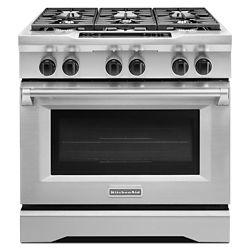 KitchenAid 36-inch 5.1 cu. ft. Dual Fuel Commercial Style Range in Stainless Steel