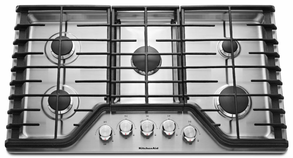 30-inch Five Burner Gas Cooktop with Even-Heat� in Stainless Steel