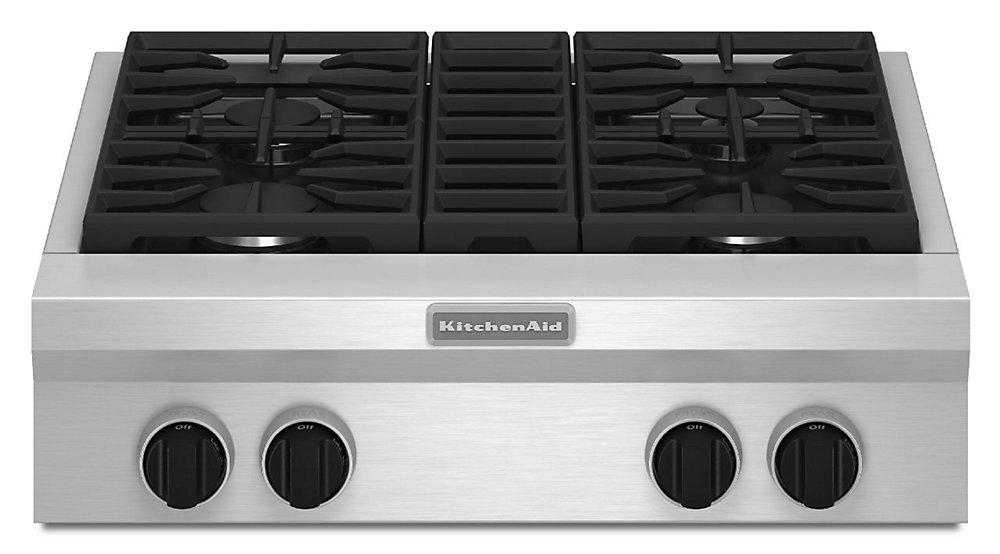 Table de cuisson à gaz de 30 po en acier inoxydable avec 4 brûleurs, y compris un brûleur à double flamme ultra puissant.