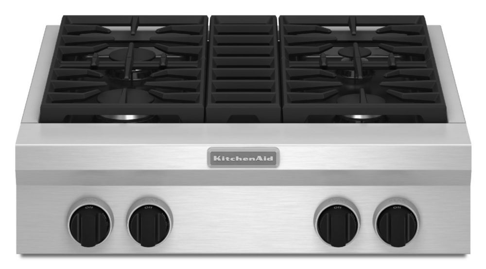 KitchenAid 30-inch Commercial-Style Gas Range Top in Stainless Steel