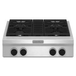 KitchenAid Table de cuisson à gaz de 30 po en acier inoxydable avec 4 brûleurs, y compris un brûleur à double flamme ultra puissant.