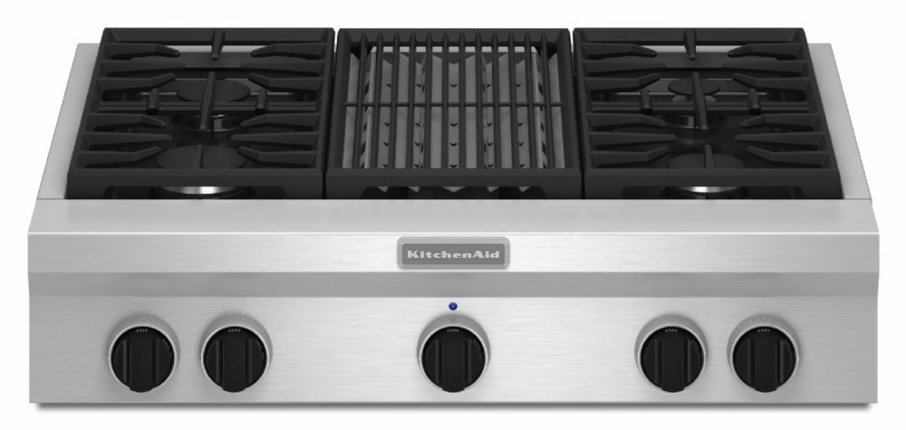 36-inch Commercial-Style Gas Rangetop with Even-Heat� Grill in Stainless Steel