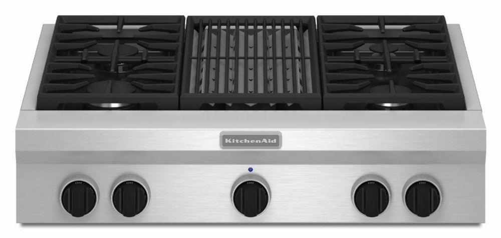 Table de cuisson au gaz de 36 po de style commercial, à 4 brûleurs et gril - KGCU462VSS