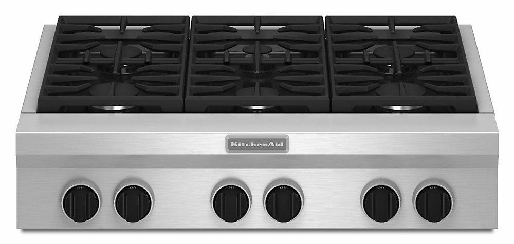 Table de cuisson à gaz de 36 po en acier inoxydable avec 6 brûleurs, y compris les brûleurs ultra puissants à double flamme.