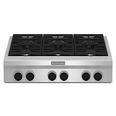 36-inch Commercial-Style Gas Cooktop in Stainless Steel with 6 Burners including Ultra Power Dual-Flame Burners
