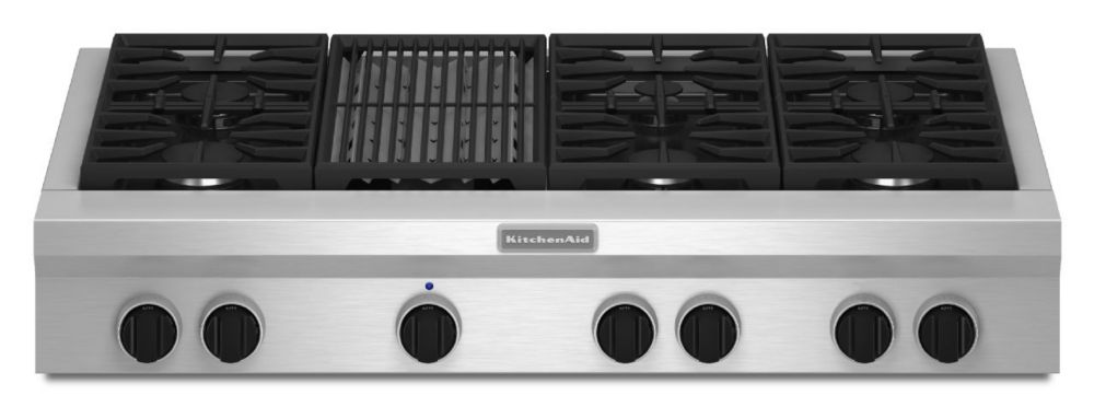 48-inch Commercial-Style Gas Rangetop with Even-Heat� Grill in Stainless Steel