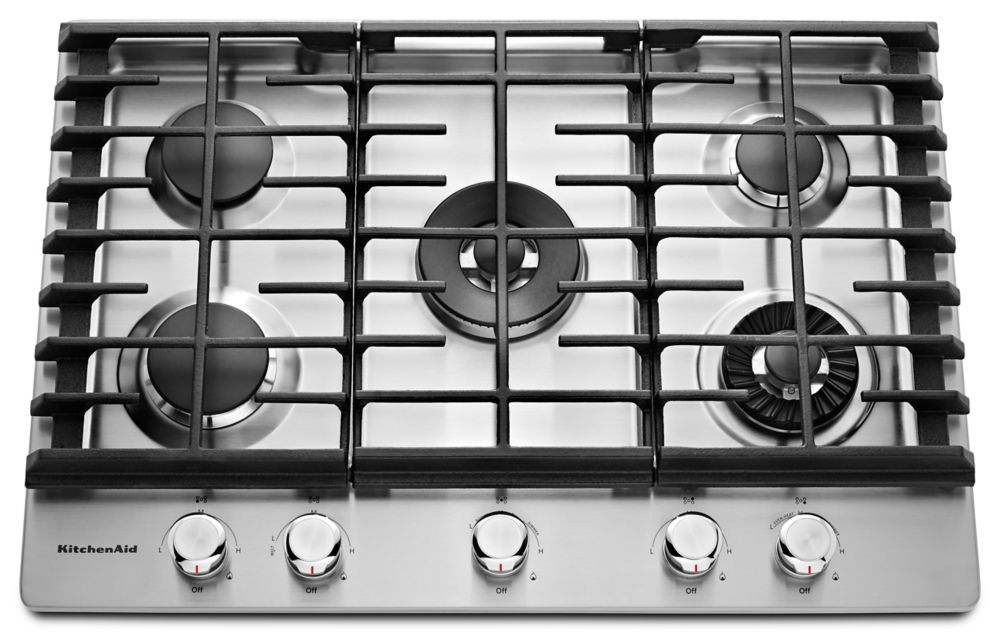 30-inch Five Burner Gas Cooktop with Even-Heat� Griddle in Stainless Steel