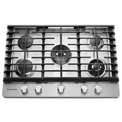 KitchenAid Table de cuisson à gaz de 30 po en acier inoxydable avec 5 brûleurs, y compris les brûleurs professionnels à deux niveaux, torches et mijotés.