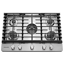KitchenAid 30-inch Gas Cooktop in Stainless Steel with 5 Burners including Professional Dual Ring Burner