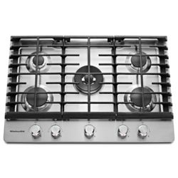 KitchenAid 30-Inch Gas-on-Glass Gas Cooktop in Stainless Steel with 5 Burners