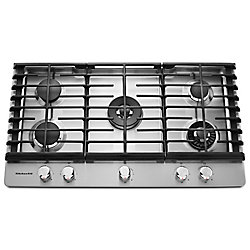 KitchenAid 36-inch Gas Cooktop in Stainless Steel with 5 Burners including Professional Dual Tier, Torch and Simmer Burners