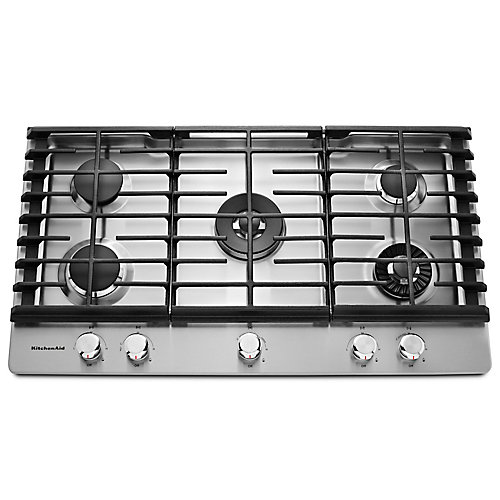 36-inch Gas Cooktop in Stainless Steel with 5 Burners including Professional Dual Tier, Torch and Simmer Burners