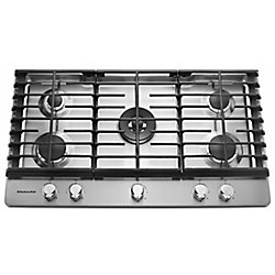 KitchenAid 36-inch Gas Cooktop in Stainless Steel with 5 Burners including a Professional Dual Tier Burner and a Simmer Burner