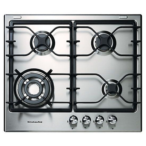 24-inch Four Burner Gas Cooktop with Stainless Steel Surface
