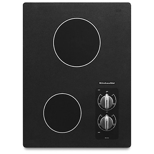 15-inch Electric Cooktop in Black with 2 Radiant Elements