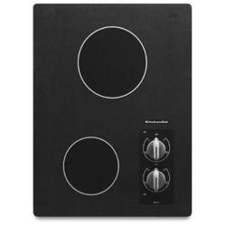 KitchenAid Table de cuisson électrique de 15 pouces en noir avec 2 éléments rayonnants